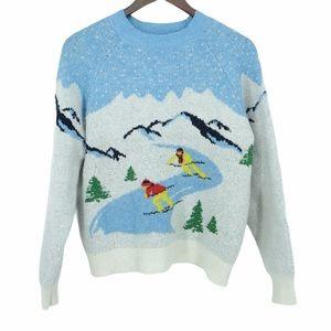 H&M skiers ⛷ blue white snow mountain sweater